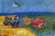 Barche sotto la luna-olio su tela-2000