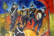 La banda musicale dei carabinieri-olio su tela-2001