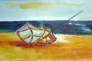 Barche sulla spiaggia-olio su tela -1994