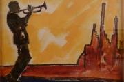 Suonatore di tromba -olio su tela- 1992
