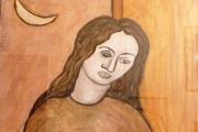 Donna seduta-olio su legno compensato-1968