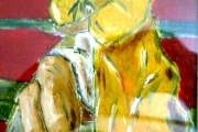 Donna sulla panchina -agosto 1966-genn.1967- olio su legno -15,5X37,5