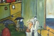 Giornata di pioggia (ovvero I fidanzati)-olio su cartone telato-1972