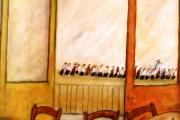 Interno con processione sullo sfondo -olio su cartone telato-1967